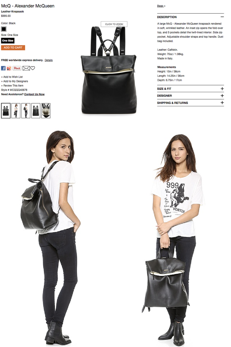 Shopbop always includes models in their product images