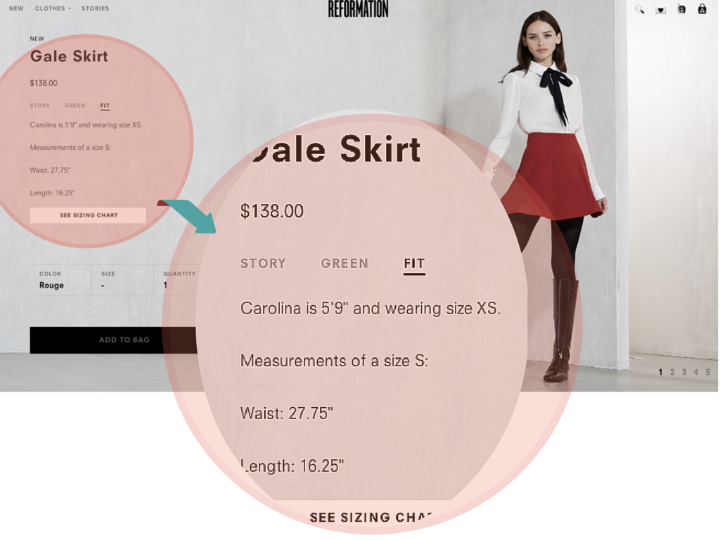 Reformation gives their  model's measurements for sizing clarity