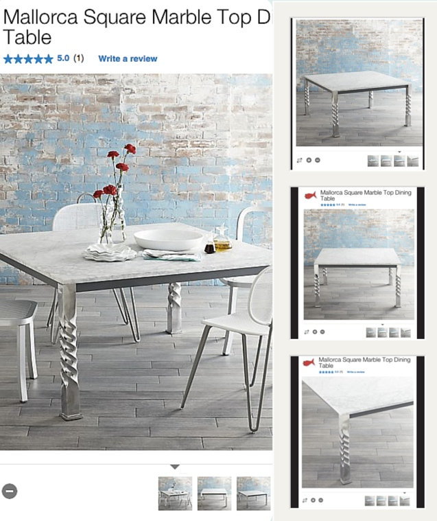 "Crate and Barrel uses product shots from multiple angles to sell a ""lifestyle"" - not just a product"