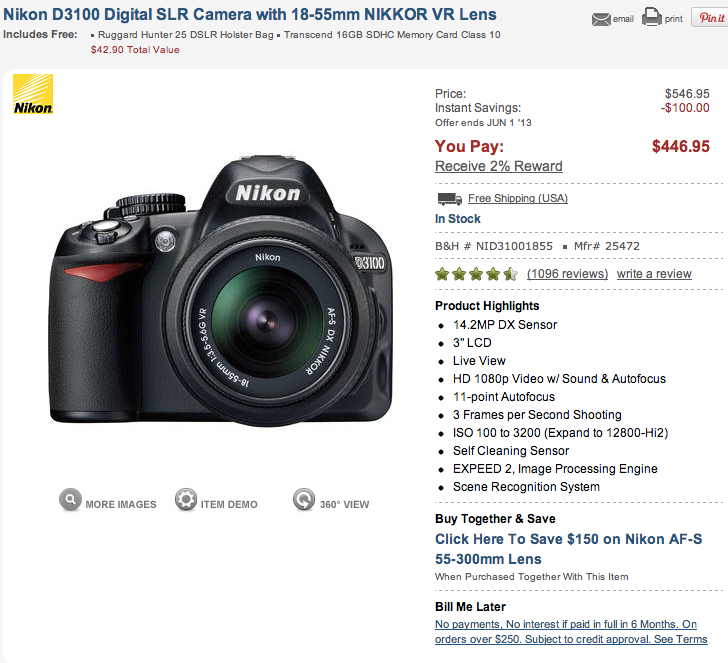 Screenshot of B&H's product detail page for the Nikon D3100 (click to enlarge)