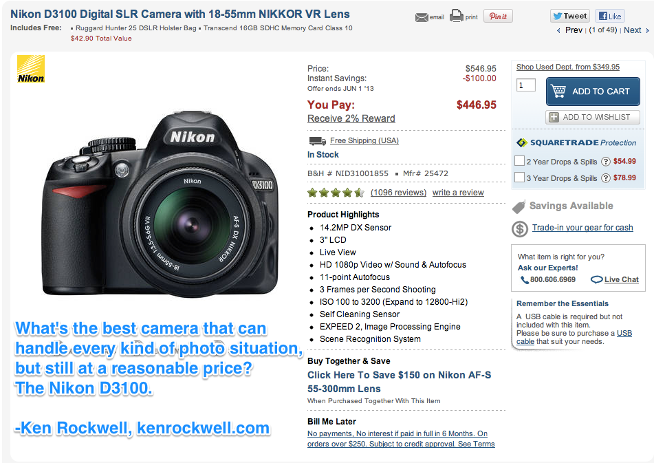 Screenshot of B&H's product detail page with endorsement from other people's blogs for the Nikon D3100 (click to enlarge)