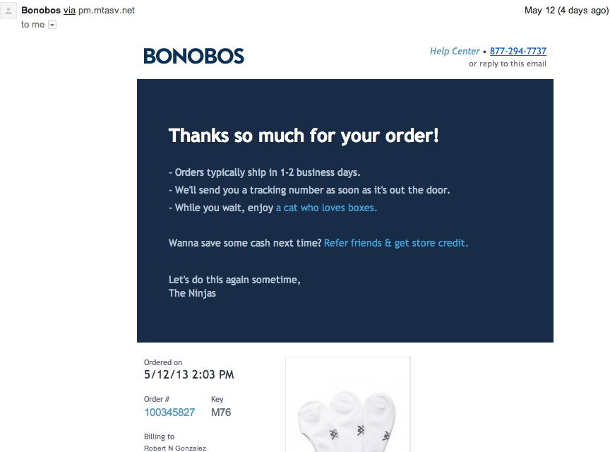 Commerce has become marketing:: example of sales referral from Bonobos
