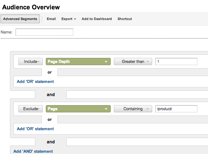 Google Analytics Advanced Segment for measuring Site Searchability