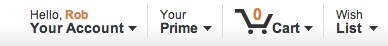 Amazon's personalized welcome bar