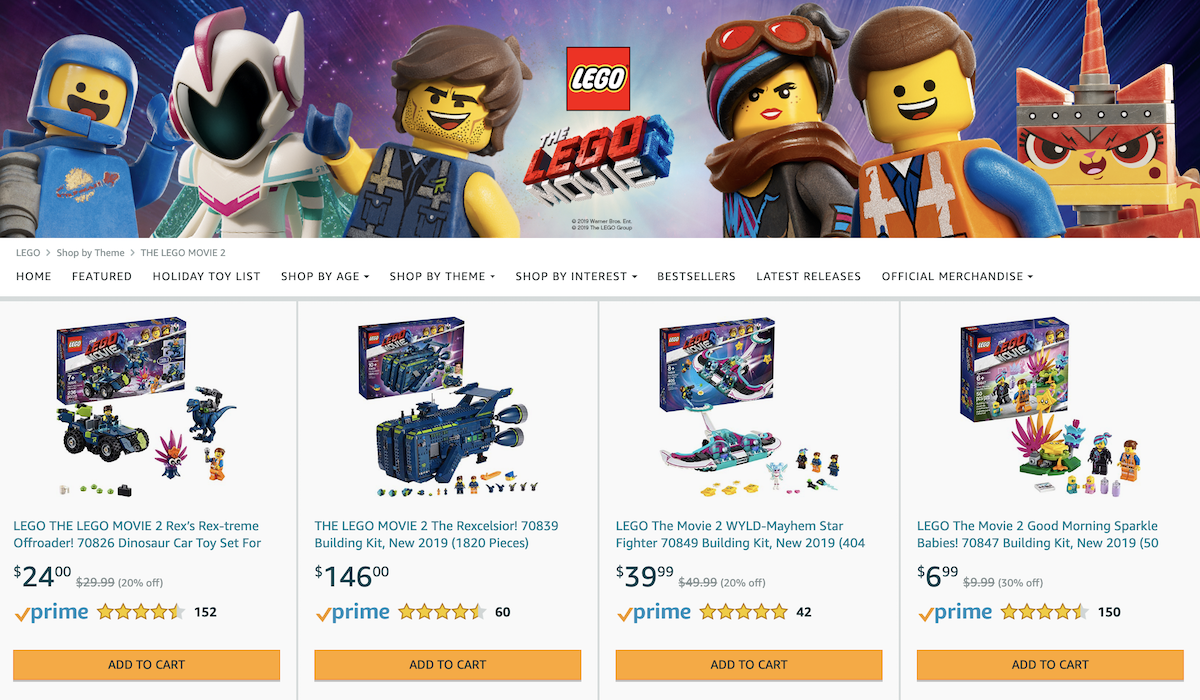 Amazon LEGO Shop Screenshot Salsify Innovative Toy and Baby Brands
