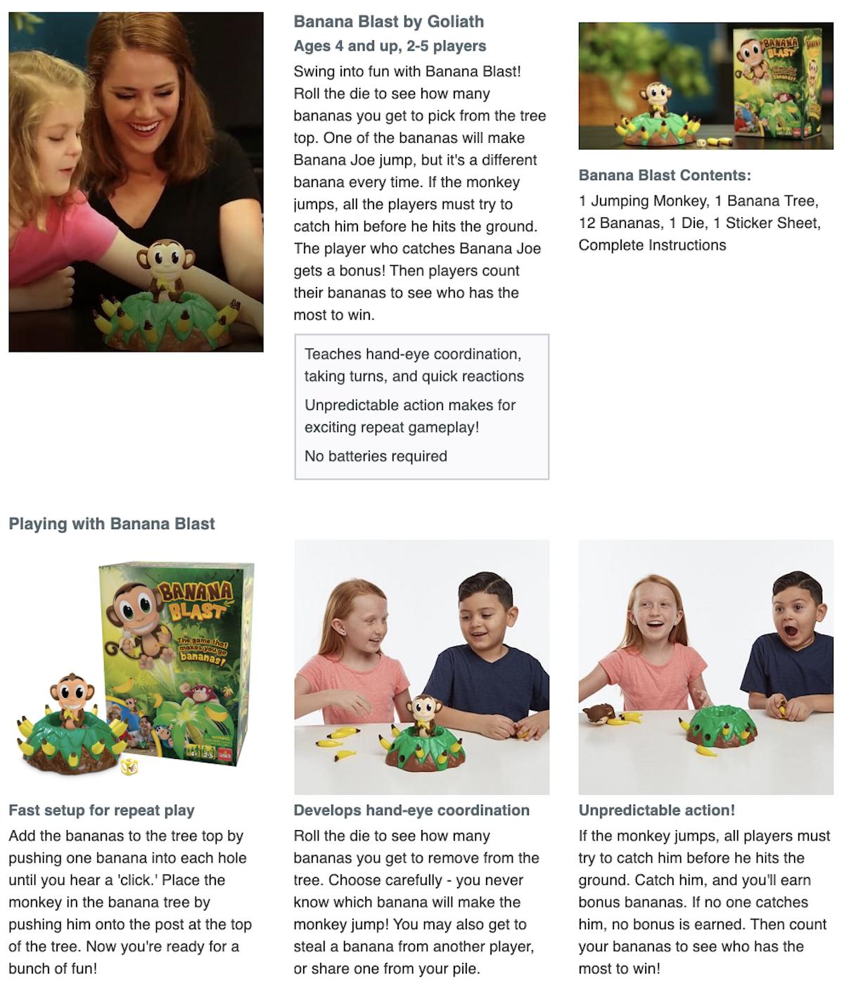 Banana Blast Product Page Screenshot Target