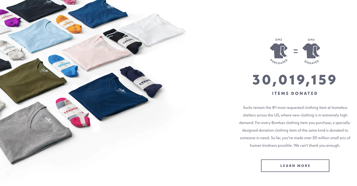 Bombas Website Screenshot Salsify D2C Apparel Brands