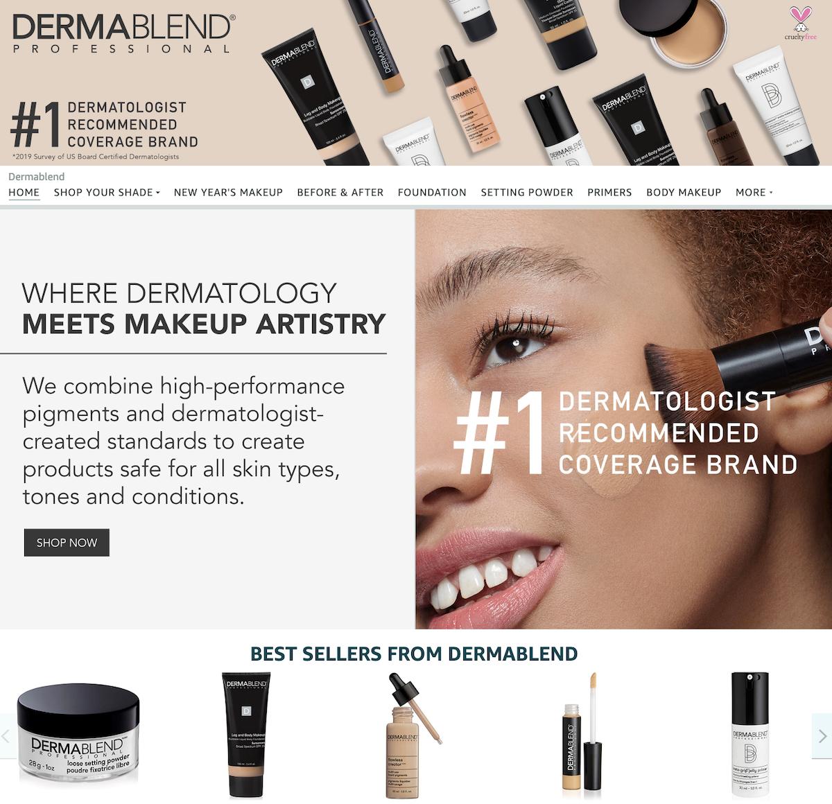 Dermablend Amazon Brand Page Screenshot Salsify Beauty Brands