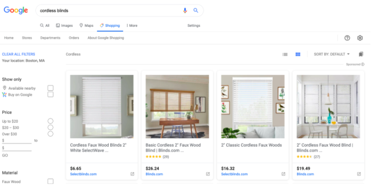 Google Shopping Screenshot
