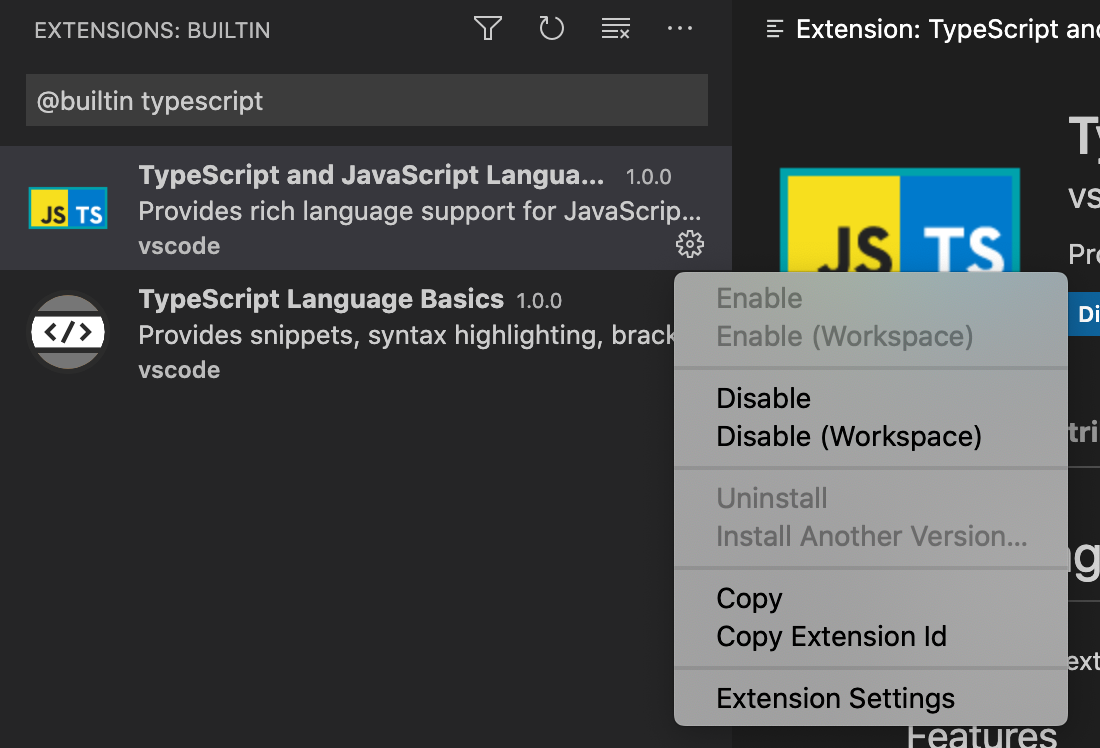 screenshot showing how to disable V S Code builtin TypeScript support