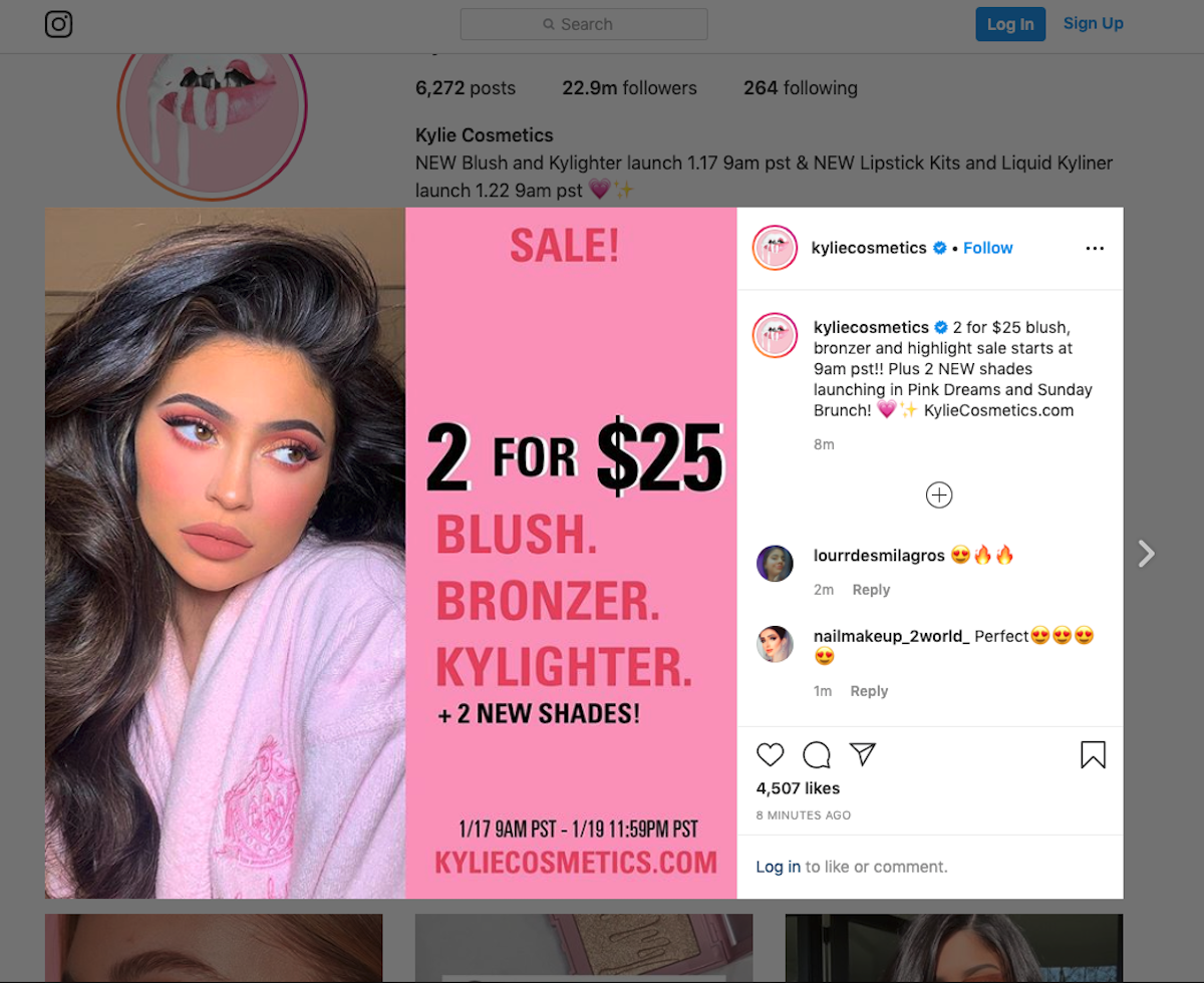 Kylie Cosmetics Instagram Channel Screenshot Salsify Beauty Brands