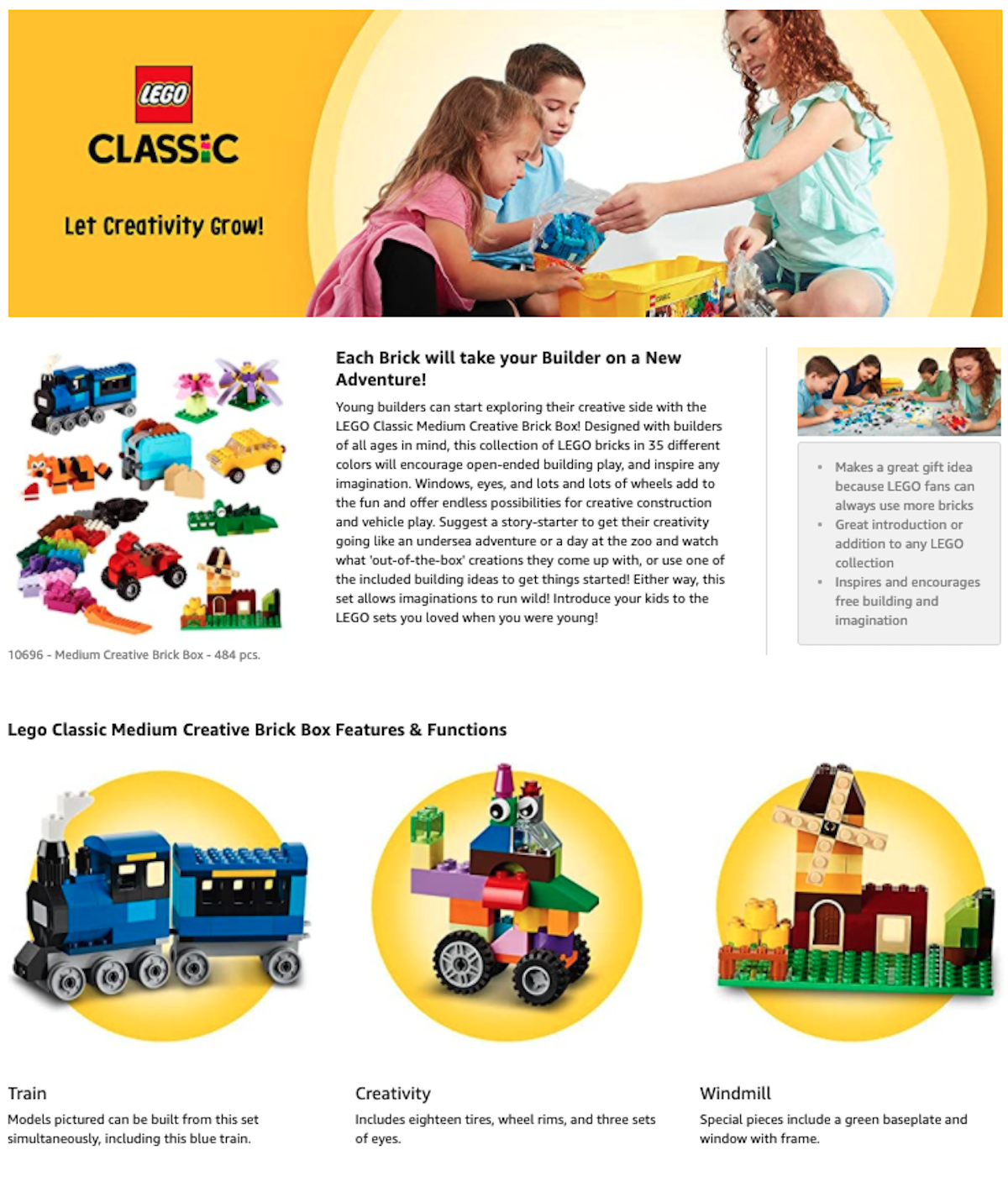 LEGO Amazon Screenshot of Brick Classic Set Salsify Toy Brands Online
