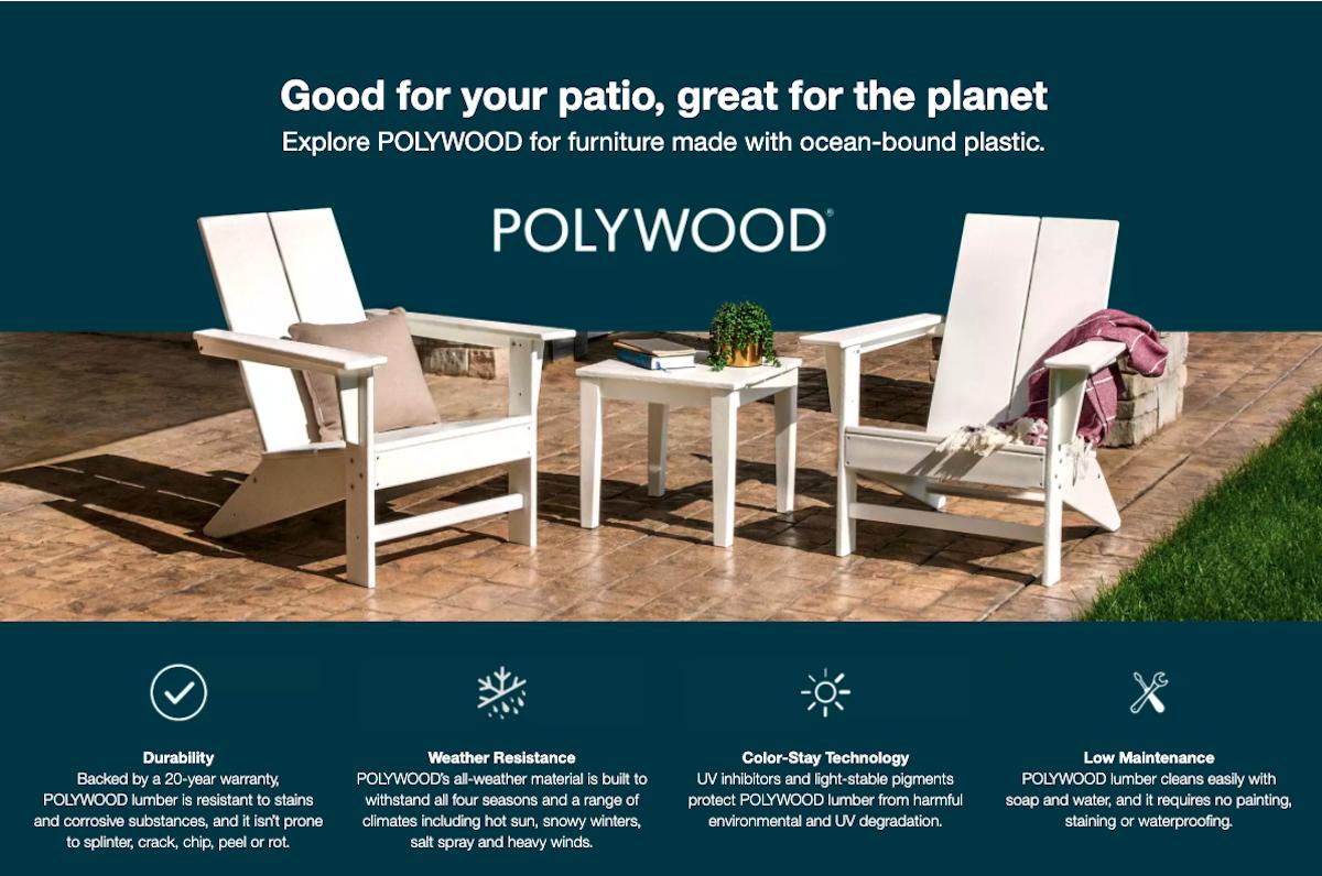Polywood Target Screenshot of Brand Landing Page