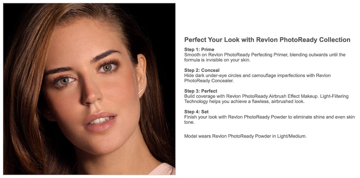 Revlon Product Page Enhanced Content Screenshot Salsify Beauty Brands