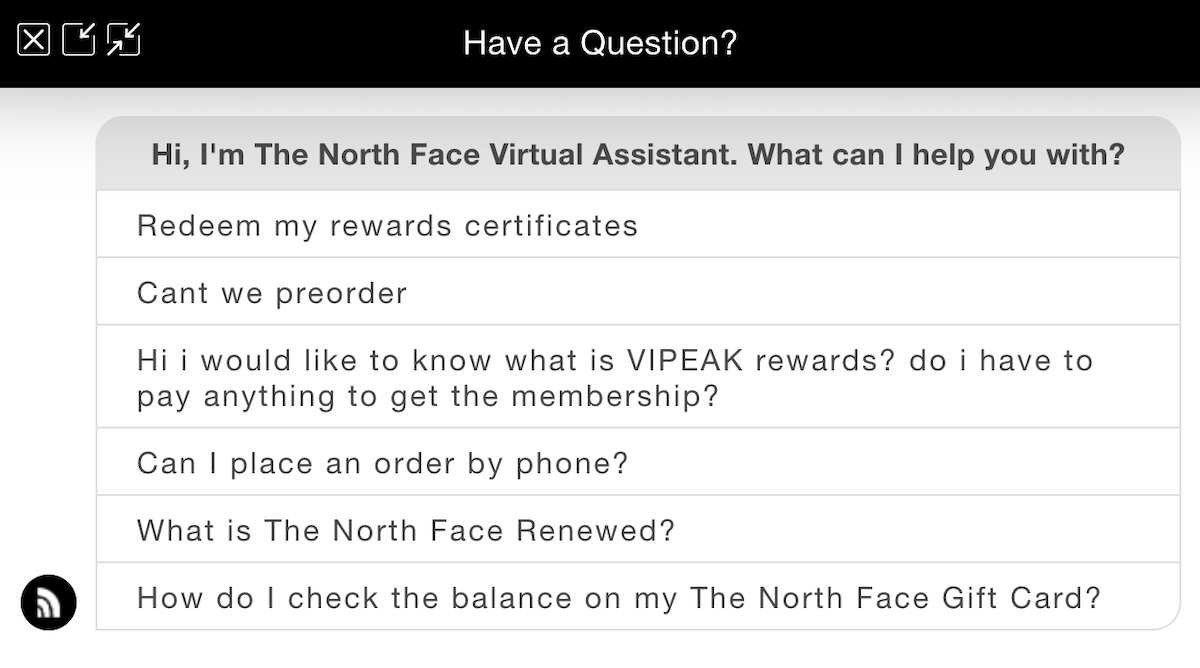 The North Face Virtual Assistant Screenshot Salsify D2C Apparel Brands