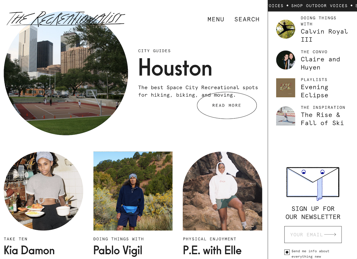 The Recreationalist Magazine Outdoor Voices Screenshot Salsify D2C Apparel Brand Trends