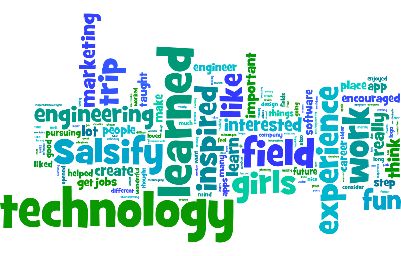 The students that attended our first STEM field trip wrote a couple sentences about their learning experience at Salsify and then sent us this Wordle to summarize all the sentences.